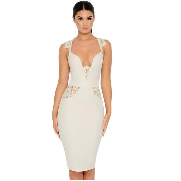 8421458a7227 Oh Polly Dresses | Nwt Lace Classy Sexy Ivory Midi Dress | Poshmark